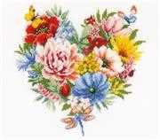 Vervaco Heart of Flowers Floral Cross Stitch Kit