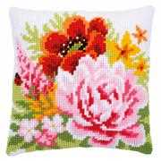Vervaco Colourful Summer Flowers Cushion Floral Cross Stitch Kit