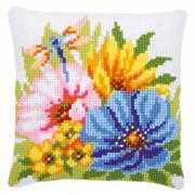Vervaco Colourful Spring Flowers Cushion Floral Cross Stitch Kit