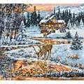 Luca-S Snowy Cabin Christmas Cross Stitch Kit