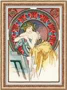 RIOLIS Girl with Easel - Mucha Cross Stitch Kit