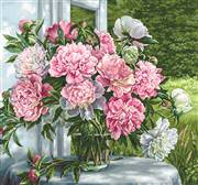 Luca-S Peonies by the Window Floral Cross Stitch Kit