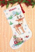 Dimensions Reindeer and Hedgehog Stocking Christmas Cross Stitch Kit