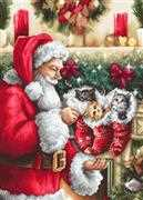 Luca-S Santa Claus and Kittens Christmas Cross Stitch