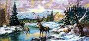 Diamant Deers on the River Tapestry Canvas