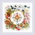 RIOLIS Compass Floral Cross Stitch Kit
