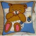 Gobelin-L Baby Bear Blue Cushion Cross Stitch Kit