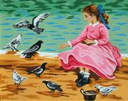 Gobelin-L Girl with Pigeons Tapestry Canvas