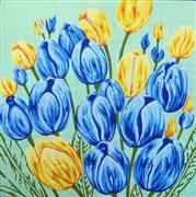 Gobelin-L Blue and Yellow Tulips Floral Tapestry Canvas