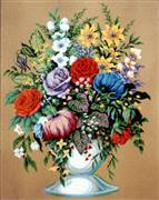 Diamant Bouquet in a White Vase Floral Tapestry Canvas