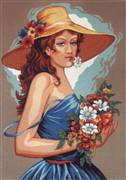 Diamant Girl in Blue Tapestry Canvas