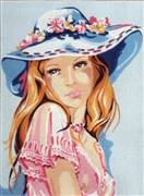 Diamant Girl in a Blue Hat Tapestry Canvas