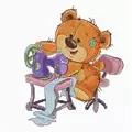 Luca-S Sewing Machine Teddy Bear Cross Stitch Kit