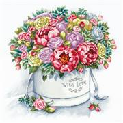 Panna Peonies in a Hat Box Floral Cross Stitch Kit