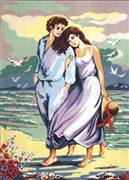 Diamant Walk on the Beach Tapestry Canvas