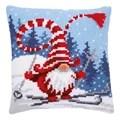 Vervaco Ski-ing Gnome Cushion Christmas Cross Stitch Kit