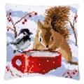 Vervaco Squirrel and Bird Cushion Christmas Cross Stitch Kit