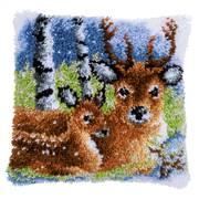 Vervaco Deer in the Snow Cushion Latch Hook Kit