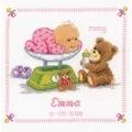 Vervaco Baby and Bear Sampler Birth Sampler Cross Stitch Kit