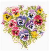 Vervaco Pansies in Heart Shape Floral Cross Stitch Kit