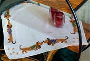 Vervaco Dachshunds Tablecloth Cross Stitch Kit