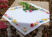 Vervaco Colourful Flowers Tablecloth Cross Stitch Kit