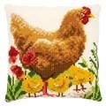 Vervaco Chicken with Chicks Cushion Cross Stitch Kit