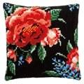 Vervaco Rose on Black Cushion Cross Stitch Kit