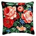 Vervaco Roses on Black Cushion Cross Stitch Kit