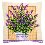 Vervaco Lavender in Pot Cushion Floral Cross Stitch Kit