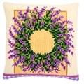 Vervaco Lavender Wreath Cushion Floral Cross Stitch Kit