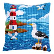 Vervaco Lighthouse and Seagulls Cushion Cross Stitch Kit