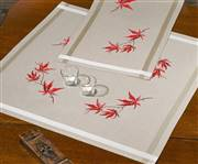 Permin Red Leaves Tablecloth Embroidery Kit
