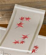 Permin Red Leaves Runner Embroidery Kit