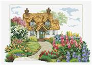 Needleart World Foxgloves Cottage No Count Cross Stitch Kit