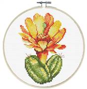 Needleart World Yellow Cactus Floral No Count Cross Stitch Kit