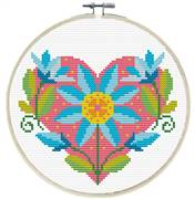 Needleart World Floral Heart No Count Cross Stitch Kit