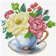 Needleart World Blue Cup Floral No Count Cross Stitch Kit