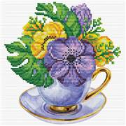 Needleart World Mauve Cup Floral No Count Cross Stitch Kit