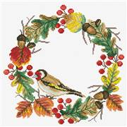 Needleart World Autumn Wreath Floral No Count Cross Stitch Kit