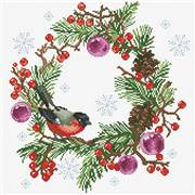 Needleart World Winter Wreath Floral No Count Cross Stitch Kit