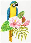 Needleart World Hibiscus Macaw No Count Cross Stitch Kit