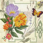 Needleart World Peony Bouquet Floral No Count Cross Stitch Kit
