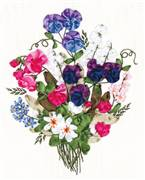 Panna Colourful Sweet Pea Floral Embroidery Kit