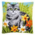 Vervaco Cat Between Flowers Cushion Cross Stitch Kit
