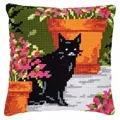 Vervaco Cat and Flowerpots Cushion Cross Stitch Kit
