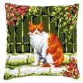 Vervaco Cat in Garden Cushion Cross Stitch Kit