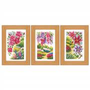 Vervaco In My Garden Set of 3 Miniatures Floral Cross Stitch Kit