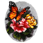 Orchidea Floral Butterfly Rug Latch Hook Rug Kit