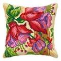 Orchidea Fuschia Cushion Floral Cross Stitch Kit